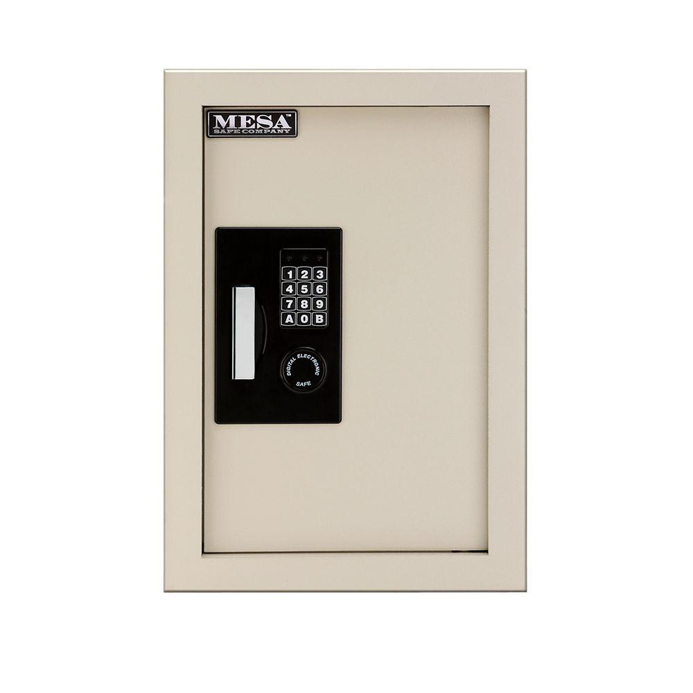 MESA 0.3-0.7 cu. ft. All Steel Adjustable Wall Safe with Electronic Lock, Cream