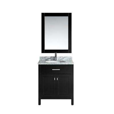 London 30 in. W x 22 in. D Single Vanity in Espresso with Marble Vanity Top and Mirror in Carrara White