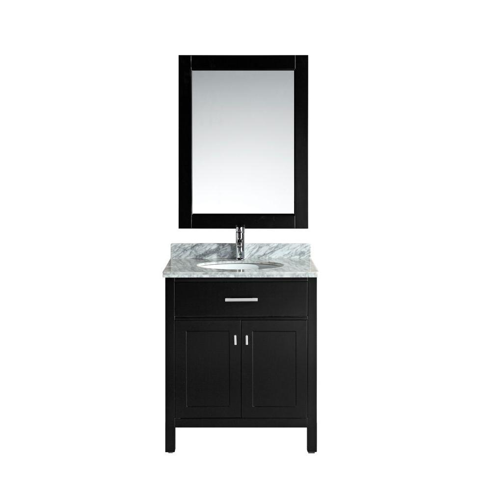 Design Element London 30 in. W x 22 in. D Single Vanity in Espresso with Marble Vanity Top and Mirror in Carrara White