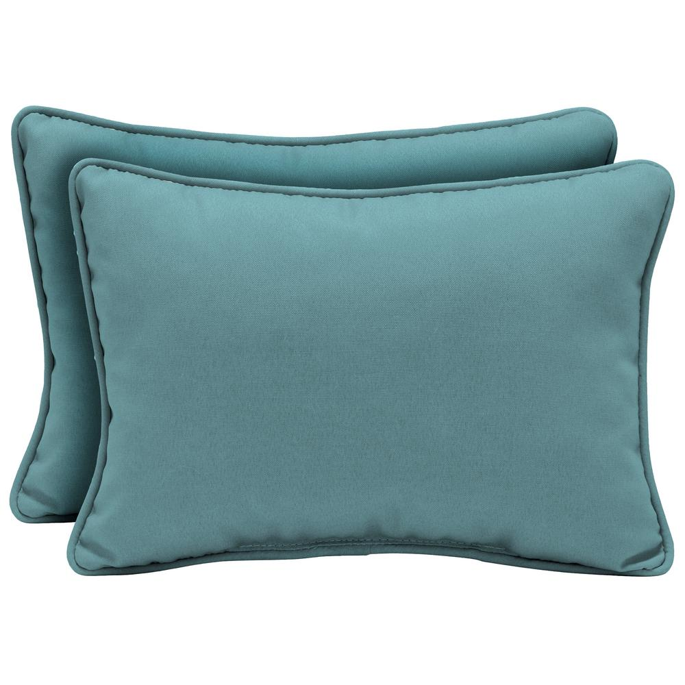 Arden Selections 22 x 15 Surf Canvas Texture Oversized Lumbar Outdoor Throw Pillow (2-Pack)