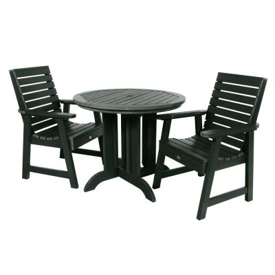 Weatherly Charleston Green 3-Piece Recycled Plastic Round Outdoor Dining Set
