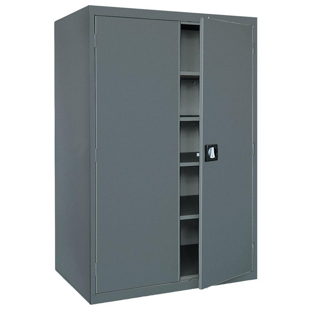 Sandusky Elite Series 72 in. H x 46 in. W x 24 in. D 5-Shelf Steel Recessed Handle Storage Cabinet in Charcoal