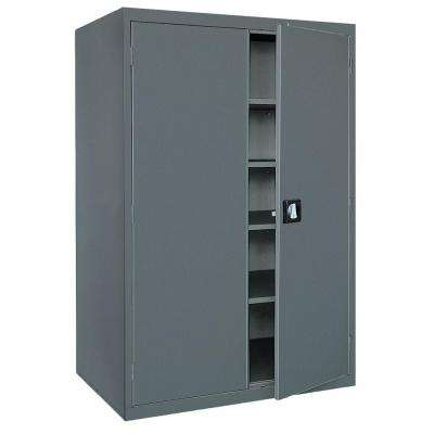 Elite Series 72 in. H x 46 in. W x 24 in. D 5-Shelf Steel Recessed Handle Storage Cabinet in Charcoal