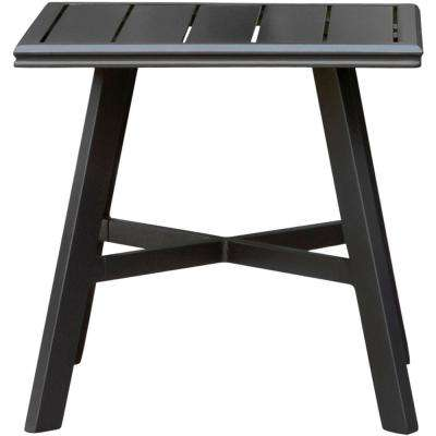 22 in. All-Weather Commercial Rust-Free Aluminum Outdoor Square Slat-Top Side Table