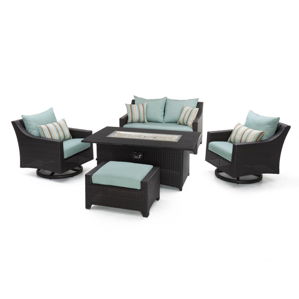 RST Brands Deco 5-Piece All-Weather Wicker Patio Love and...
