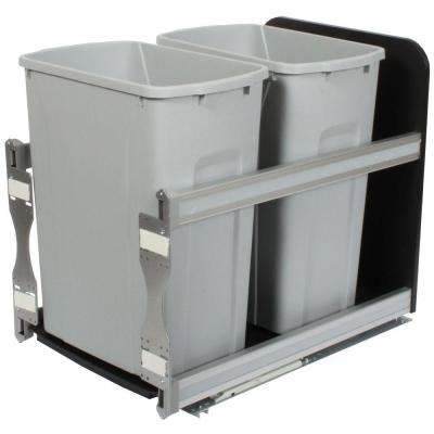 18 in. H x 15 in. W x 22 in. D Plastic In-Cabinet 35 Qt. Double Soft Close Pull-Out Trash Can in Silver