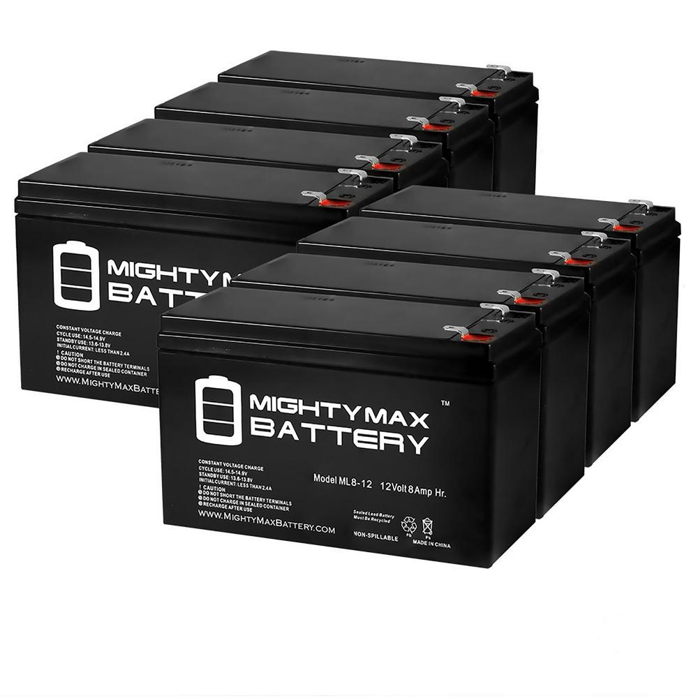 MIGHTY MAX BATTERY 12-Volt 8 Ah SLA (Sealed Lead Acid) AGM Type Replacement Battery for Alarm/Security Systems (8-Pack)