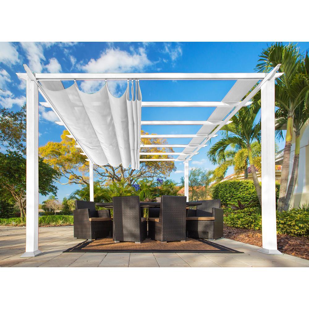 White Aluminum Pergola with Creme Color Convertible Canopy - Paragon 11 Ft. X 11 Ft. White Aluminum Pergola With Creme Color