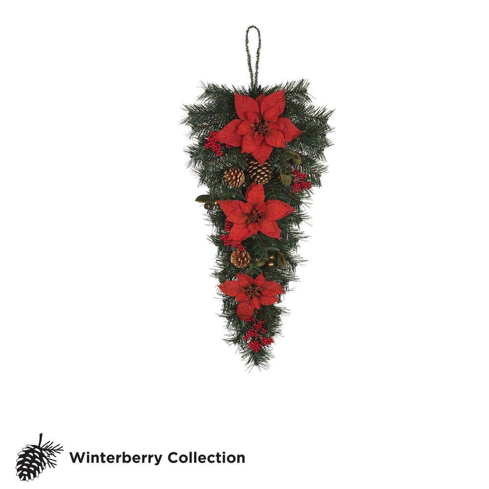 Martha Stewart Living 32 in. Unlit Winterberry Artificial Swag with Red Poinsettias, Berries and Pinecones