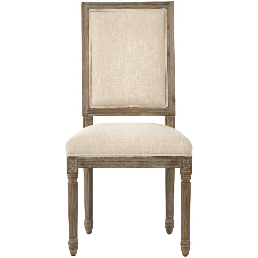 Jacques Antique Brown Natural Linen Square Back Dining Chair (Set of