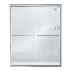 Sterling Finesse 59-5/8 inch x 70-1/16 inch Frameless Sliding Shower Door in Silver with Handle by STERLING