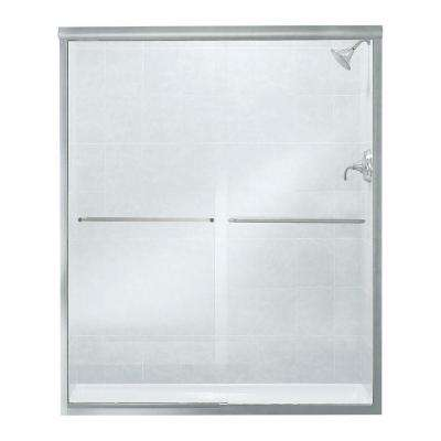 Finesse 59-5/8 in. x 70-1/16 in. Frameless Sliding Shower Door in Silver with Handle