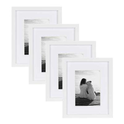 Gallery 8 in. x 10 in. Matted to 5 in. x 7 in. White Picture Frame (Set of 4)