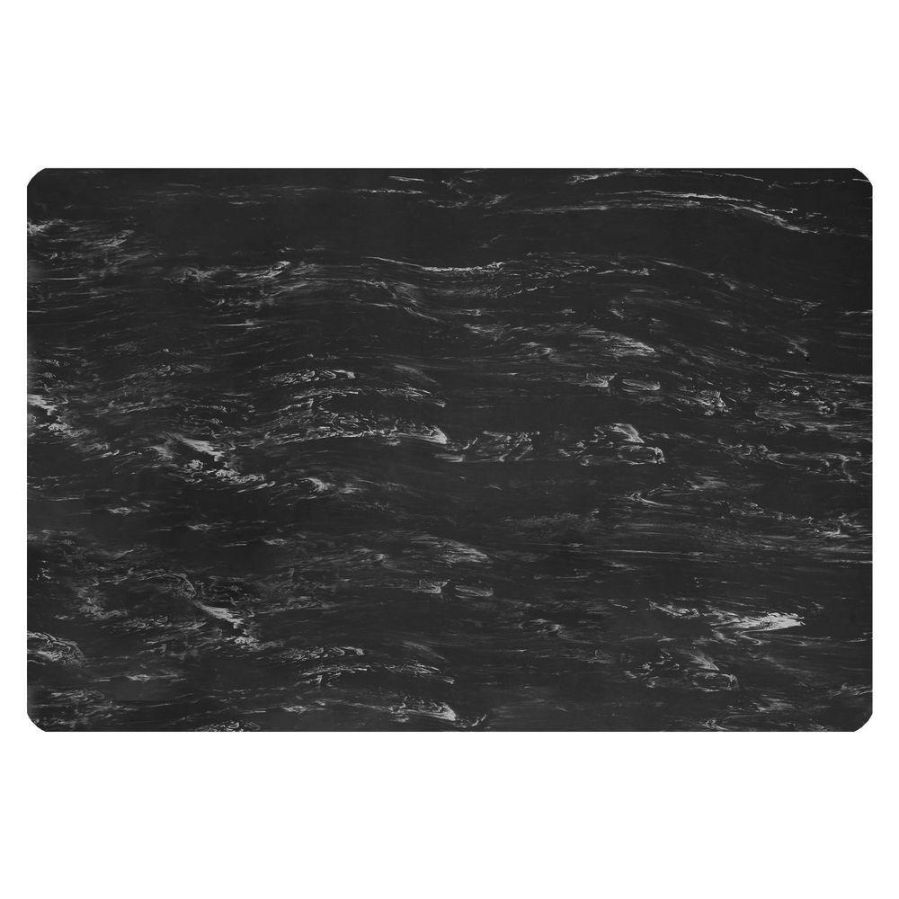 Sof-Tyle Grande Black Marble 24 in. Width x 36 in. Depth x 1 in. Thick Rubber Top/PVC Sponge LaminateAnti-Fatigue Mat