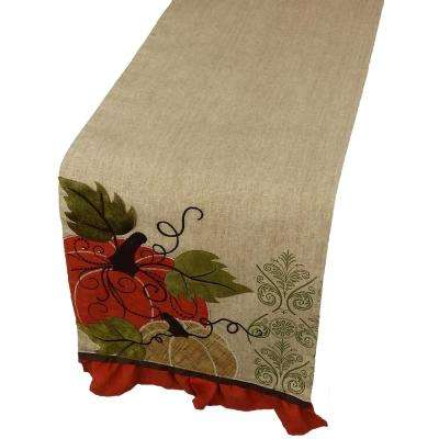 13 in. x 72 in. Pumpkin Embroidered Polyester with Suede Accents Collection Table Runner