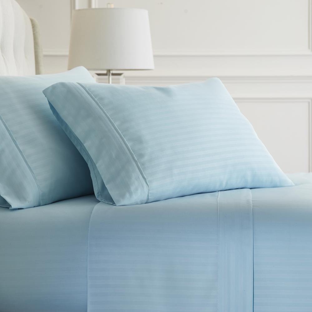 Embossed Striped 4-Piece Aqua Full Performance Bed Sheet Set