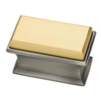 Luxe Square 1-7/8 in. (47mm) Dual Tone Heirloom Silver & Brushed Brass Oversized Cabinet Knob