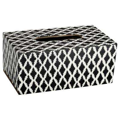 Moroccan Tile Tissue Box Cover in Black and White