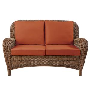 Beacon Park Brown Wicker Outdoor Patio Loveseat with CushionGuard Quarry Red Cushions