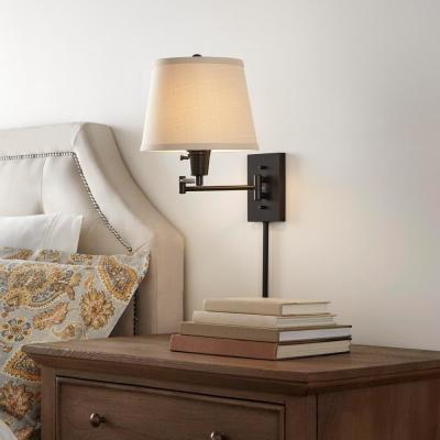 1-Light Oil Rubbed Bronze Swing Arm Plug In Wall Lamp with Fabric Shade