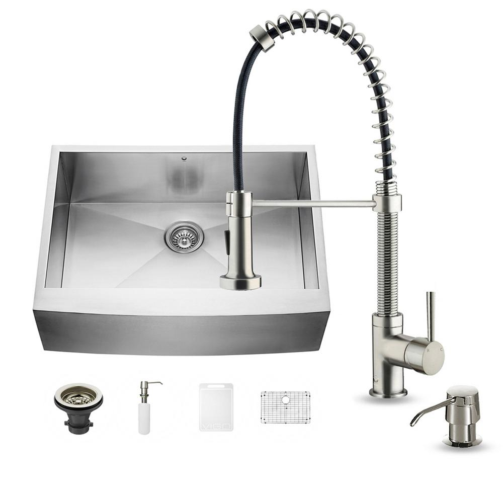 VIGO All-in-One Farmhouse Apron Front Stainless Steel 30 in. 0-Hole Single Bowl Kitchen Sink with Faucet Set