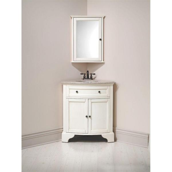 Home Decorators Collection - Hamilton 31 in. W x 23 in. D Corner Bath Vanity in Ivory with Granite Vanity Top in Grey