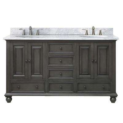 Thompson 61 in. W x 22 in. D x 35 in. H Vanity in Charcoal Glaze with Marble Vanity Top in Carrera White with Basin