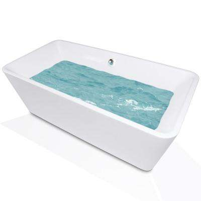 5.54 ft. Acrylic Center Drain Rectangular Double Ended Flatbottom Freestanding Bathtub in White