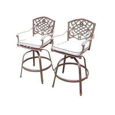 Mississippi Swivel Aluminum Outdoor Bar Stool with White Cushion (2-Pack)