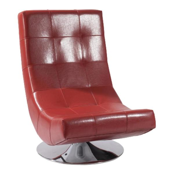 Armen Living Mario Swivel Chair Red Bonded Leather LC3634CLRE