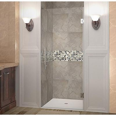 Cascadia 34 in. x 72 in. Completely Frameless Hinged Shower Door in Stainless Steel with Clear Glass