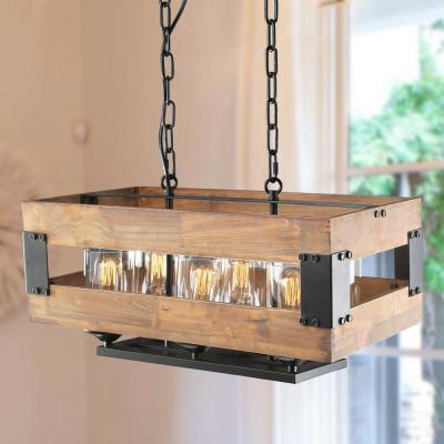 Siay 22.4 in. 6-Light Rustic Black Modern Farmhouse Wood Chandelier Pendant Light with Clear Glass Shade LED Compatible