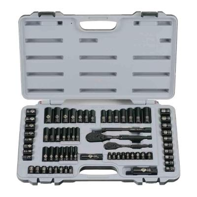1/4 in. & 3/8 in. Drive Black Chrome Laser Etched  SAE  Mechanics Tool Set (69-Piece)