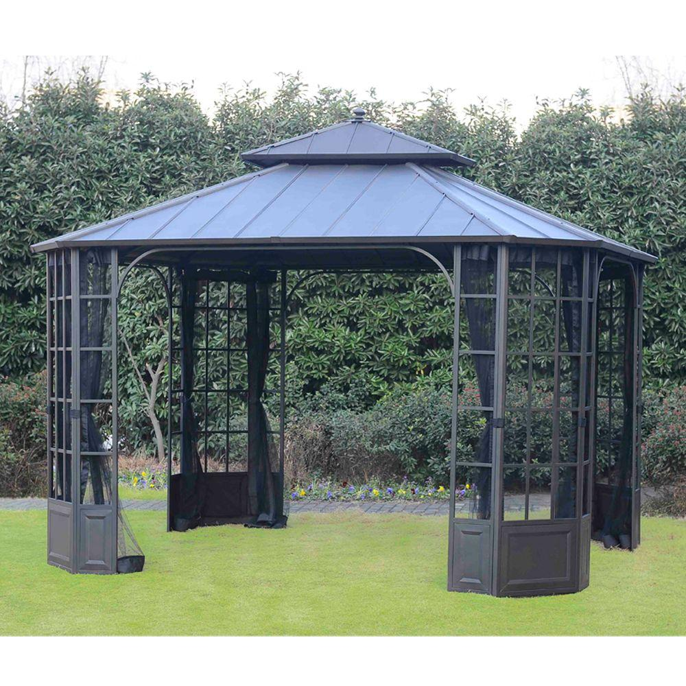 Hampton Bay 12 Ft X 10 Ft Bay Window Hard Top Gazebo L