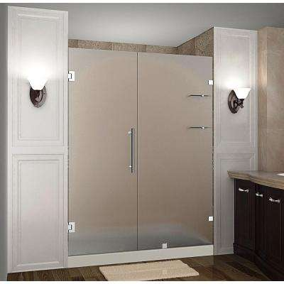 Nautis GS 60 in. x 72 in. Frameless Hinged Shower Door with Frosted Glass and Glass Shelves in Stainless Steel