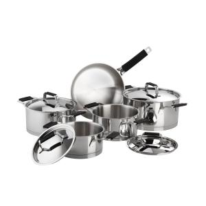 Magefesa Premier 9-Piece Stainless Steel Cookware Set with Black Handles by Magefesa
