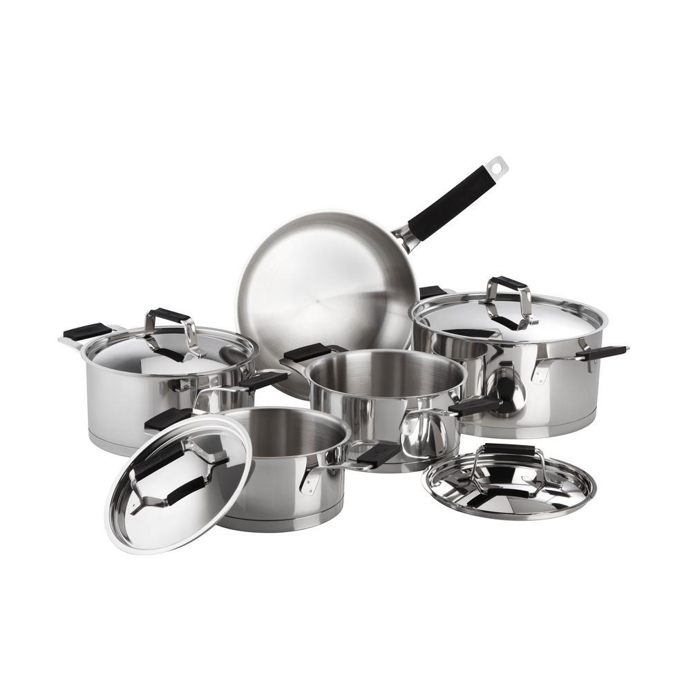 Magefesa Premier 9-Piece Stainless Steel Cookware Set with Black Handles by Magefesa