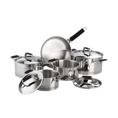 Premier 9-Piece Stainless Steel Cookware Set with Black Handles