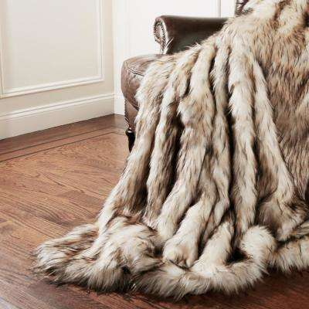 Wild Mannered 54 in. x 36 in. Bleached Finn Faux Fur Throw