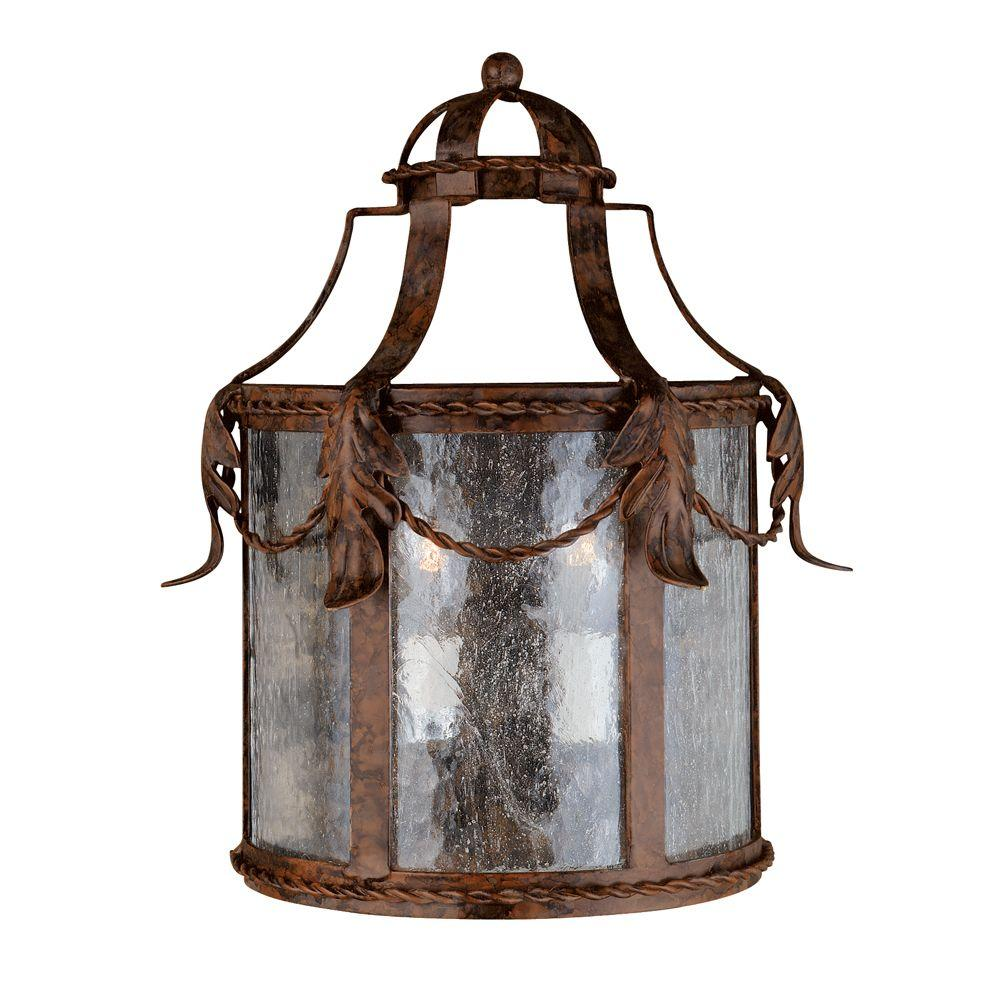 World Imports Medici Collection 2-Light Oxide Bronze Wall Lantern with Seedy Glass