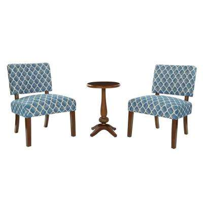 Warren Table and 2-Chairs in Harbor Blue Fabric with Coffee Legs and Coffee Table