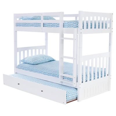 Casual White Collection White Twin OverTwin Bunk Bed with Twin Underbed Trundle