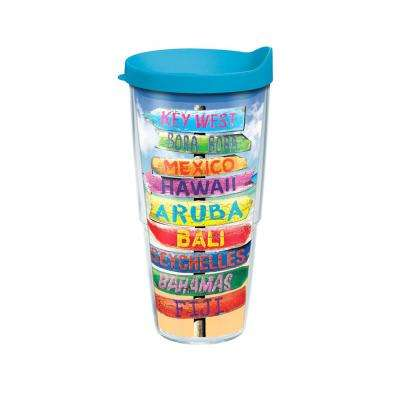 Tropical Destination Signs 24 oz. Double Walled Insulated Tumbler with Travel Lid