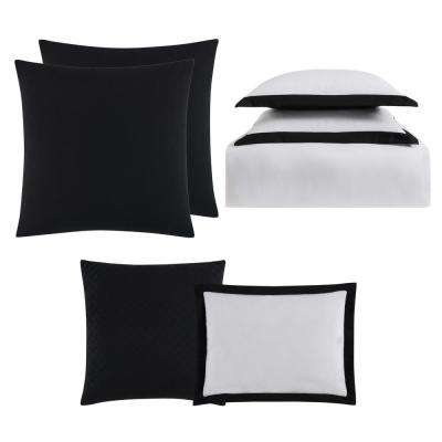 Everyday Hotel Border Black 7 Piece Full / Queen Duvet Set
