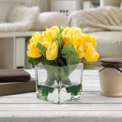 8 in. Tulip Artificial Floral Yellow Arrangement