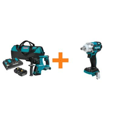 18-Volt X2 LXT (36-Volt) 1 in. SDS-Plus Rotary Hammer Kit 5.0Ah with Bonus 18V LXT 1/2 in. 3-Speed Impact Wrench