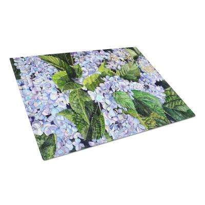 Hydrangea Tempered Glass Large Cutting Board