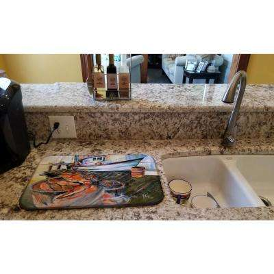 14 in. x 21 in. Multicolor Blue Crab Trap Dish Drying Mat