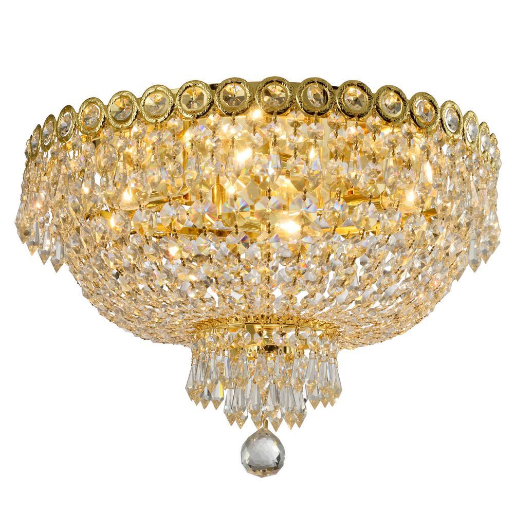 Worldwide Lighting Empire 18 in. 4-Light Polished Gold Crystal Flush Mount