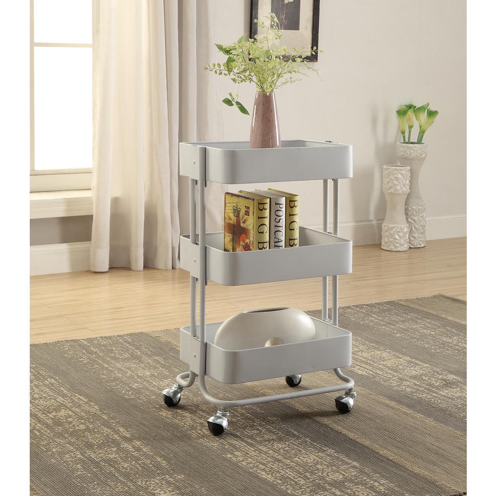 3-Tier White Storage Cart